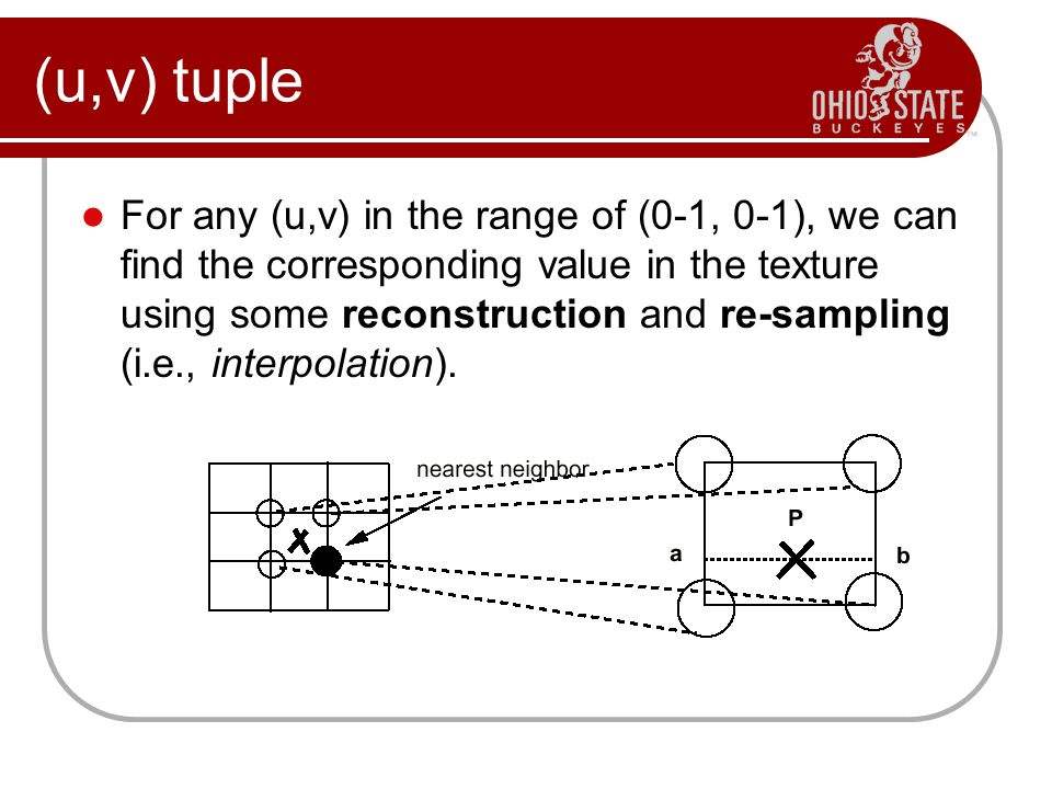 (u,v) tuple For any (u,v) in the range of (0-1, 0-1), we can find the corresponding value in the texture using some reconstruction and re-sampling (i.e., interpolation).