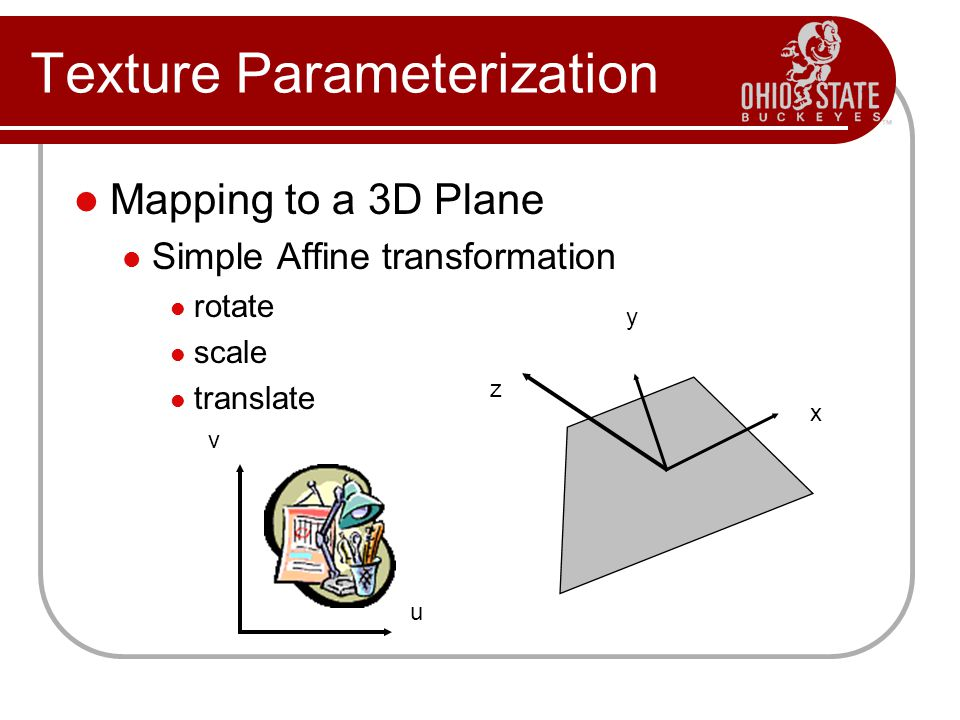 Texture Parameterization Mapping to a 3D Plane Simple Affine transformation rotate scale translate z y x u v