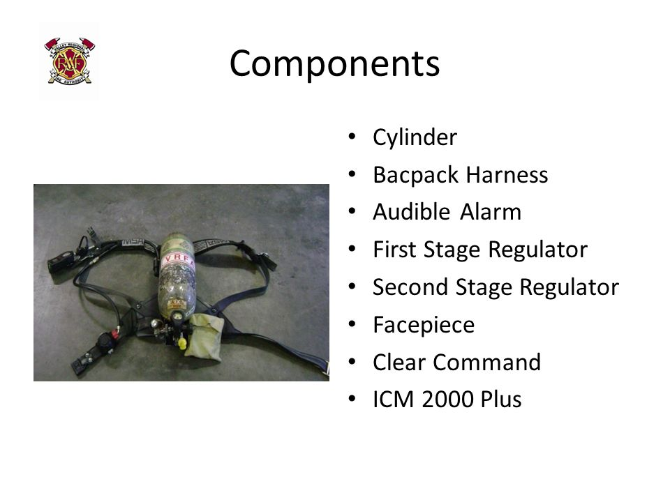 Components Cylinder Bacpack Harness Audible Alarm First Stage Regulator Second Stage Regulator Facepiece Clear Command ICM 2000 Plus