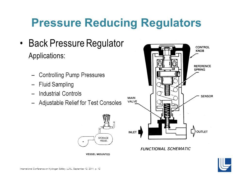 International Conference on Hydrogen Safety, LLNL, September 12, 2011, p. 12 Pressure Reducing Regulators Back Pressure Regulator Applications: –Contr
