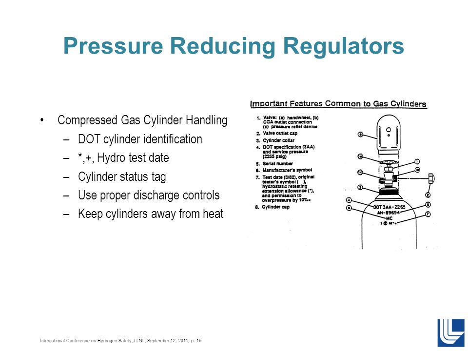 International Conference on Hydrogen Safety, LLNL, September 12, 2011, p. 16 Pressure Reducing Regulators Compressed Gas Cylinder Handling –DOT cylind