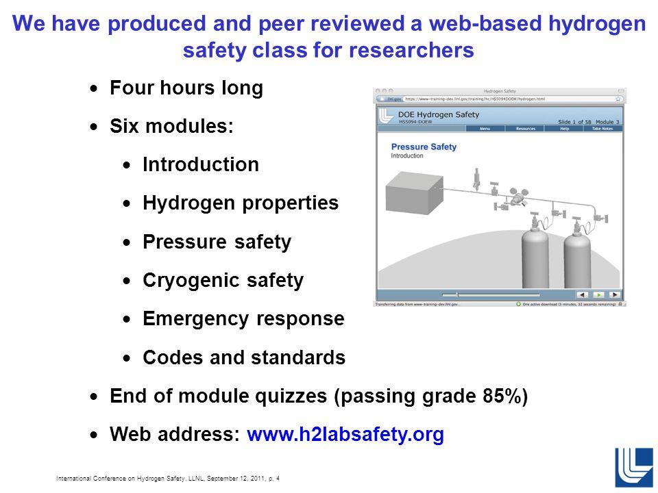 International Conference on Hydrogen Safety, LLNL, September 12, 2011, p.