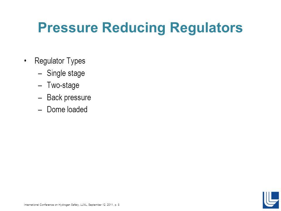 International Conference on Hydrogen Safety, LLNL, September 12, 2011, p. 8 Pressure Reducing Regulators Regulator Types –Single stage –Two-stage –Bac