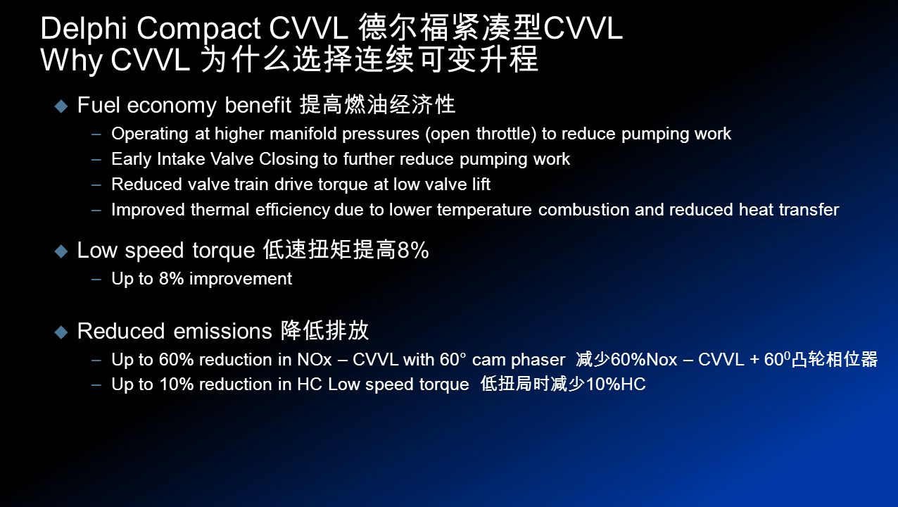  Fuel economy benefit 提高燃油经济性 –Operating at higher manifold pressures (open throttle) to reduce pumping work –Early Intake Valve Closing to further reduce pumping work –Reduced valve train drive torque at low valve lift –Improved thermal efficiency due to lower temperature combustion and reduced heat transfer Delphi Compact CVVL 德尔福紧凑型 CVVL Why CVVL 为什么选择连续可变升程  Low speed torque 低速扭矩提高 8% –Up to 8% improvement  Reduced emissions 降低排放 –Up to 60% reduction in NOx – CVVL with 60° cam phaser 减少 60%Nox – CVVL + 60 0 凸轮相位器 –Up to 10% reduction in HC Low speed torque 低扭局时减少 10%HC