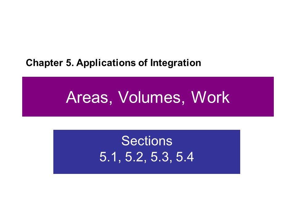 Areas, Volumes, Work Sections 5.1, 5.2, 5.3, 5.4 Chapter 5. Applications of Integration