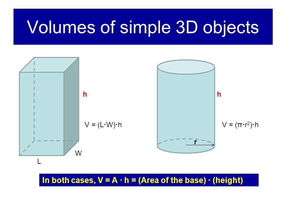 Volumes of simple 3D objects L W hh r V = (L  W)  hV = (π  r 2 )  h In both cases, V = A  h = (Area of the base)  (height)