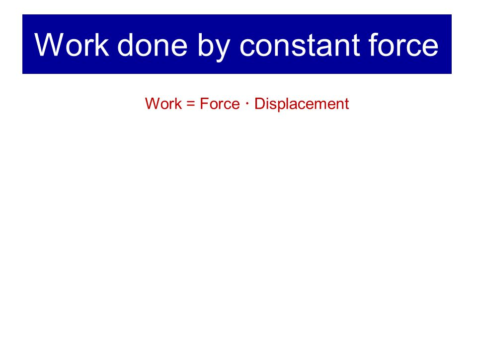 Work done by constant force Work = Force  Displacement