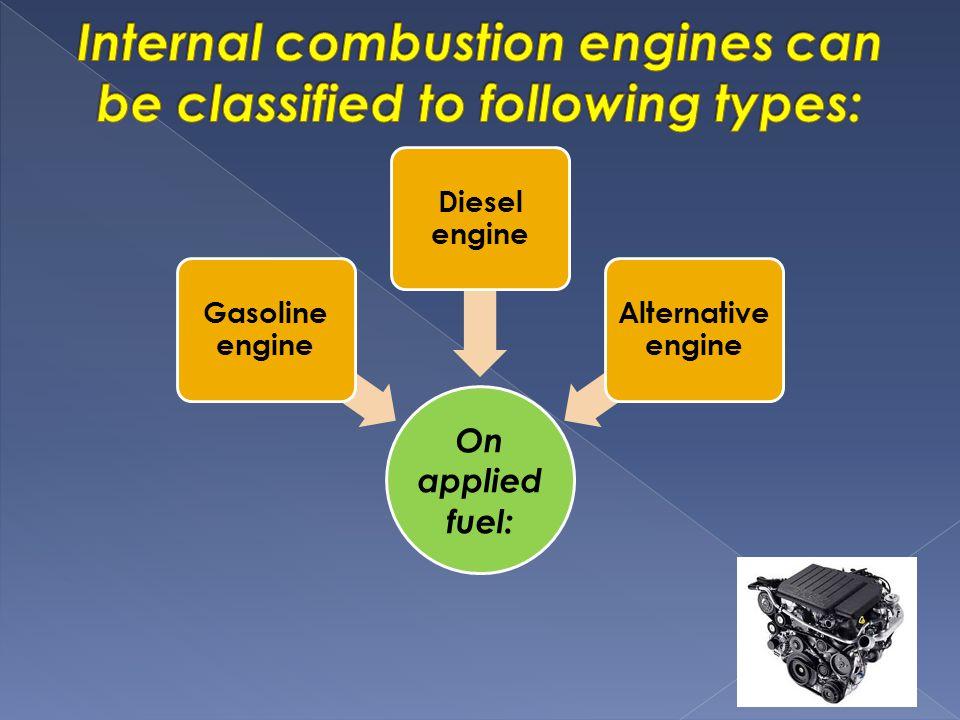 On applied fuel: Gasoline engine Diesel engine Alternative engine