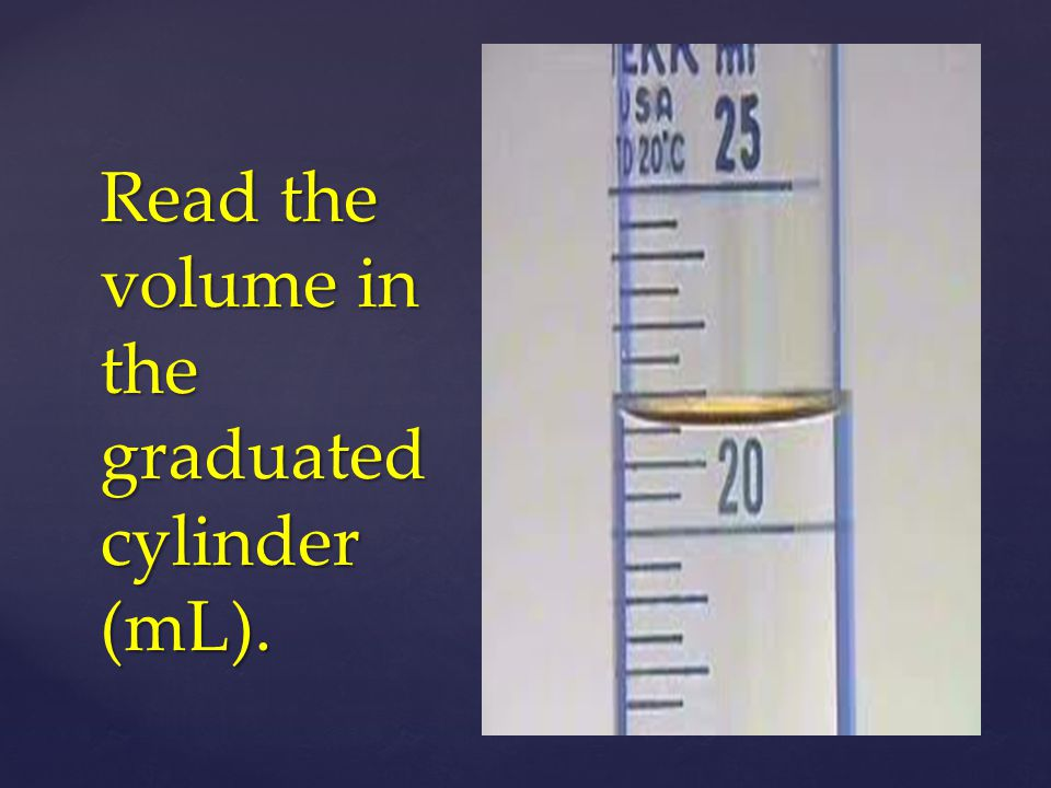 Read the volume in the graduated cylinder (mL).