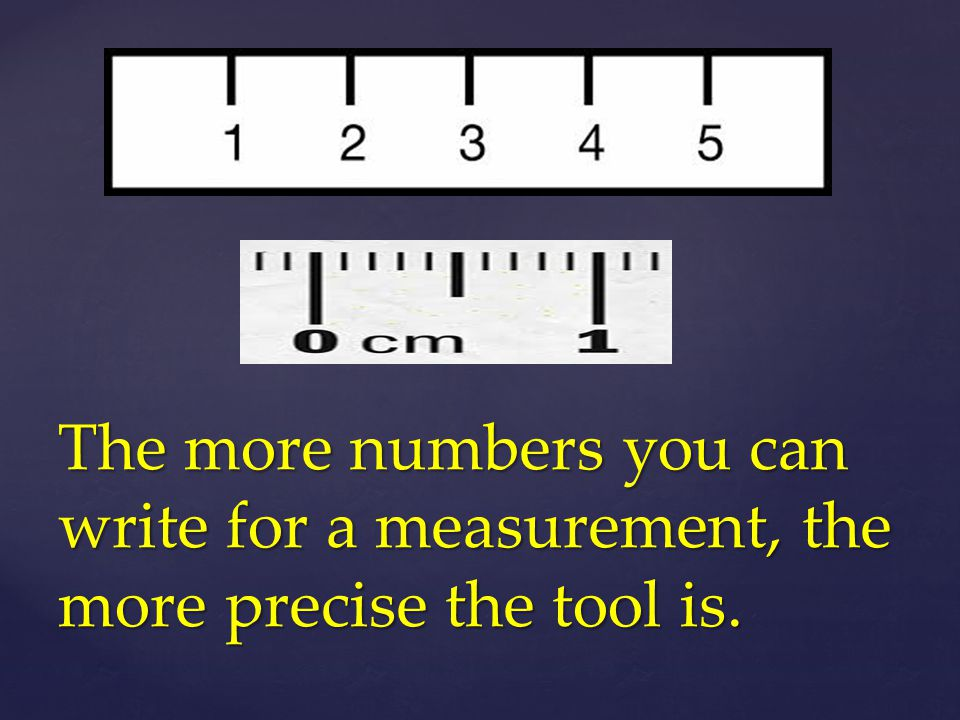 The more numbers you can write for a measurement, the more precise the tool is.