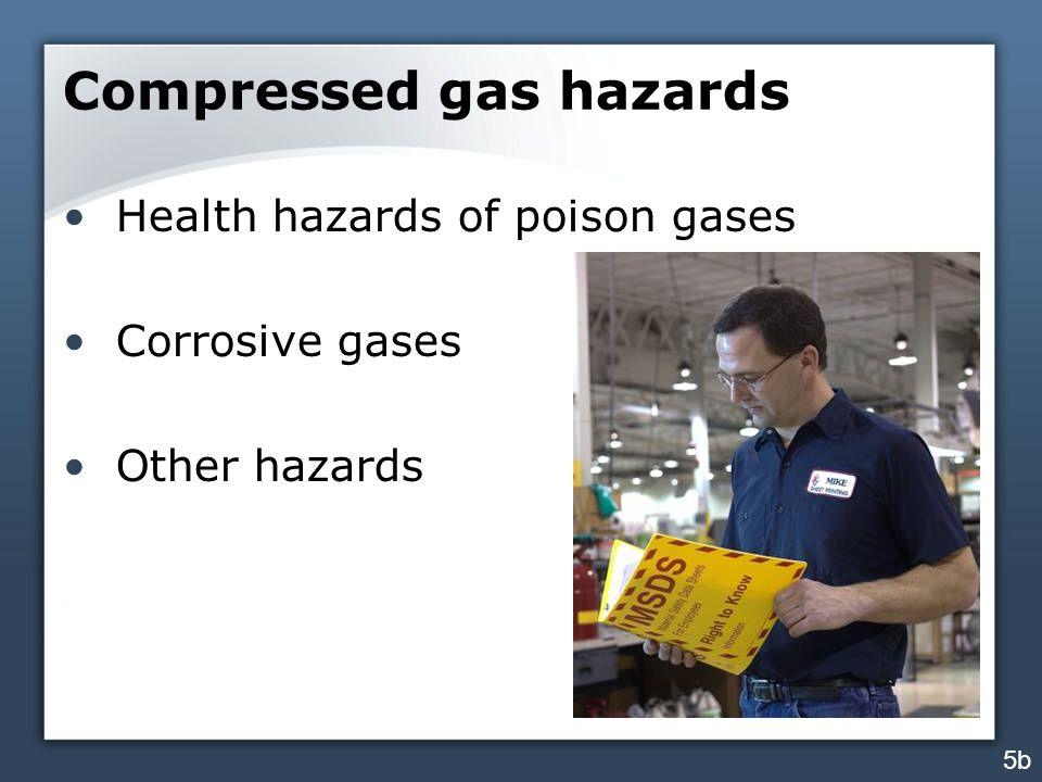 Compressed gas hazards Health hazards of poison gases Corrosive gases Other hazards 5b
