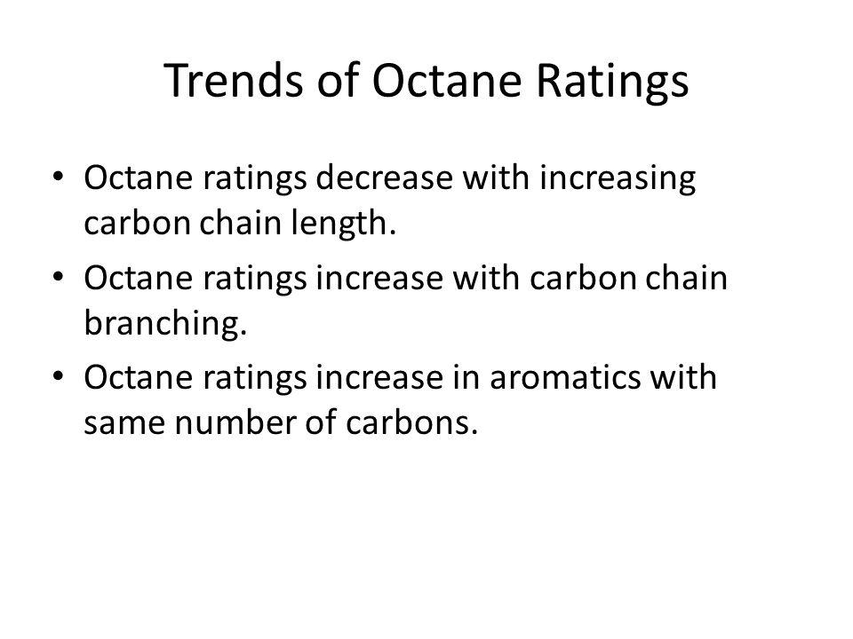 Octane Ratings of Common Cpds found in gasoline HydrocarbonOctane Rating n-butane113 n-pentane62 n-hexane19 n-heptane0 2-methylbutane99 2,2-dimethylpr