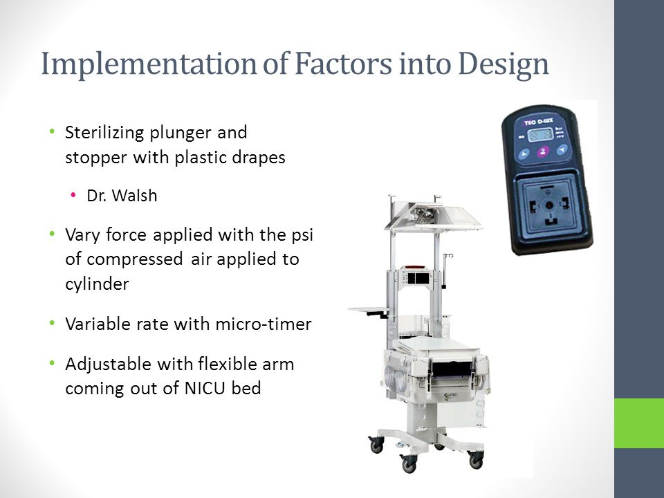 Implementation of Factors into Design Sterilizing plunger and stopper with plastic drapes Dr.