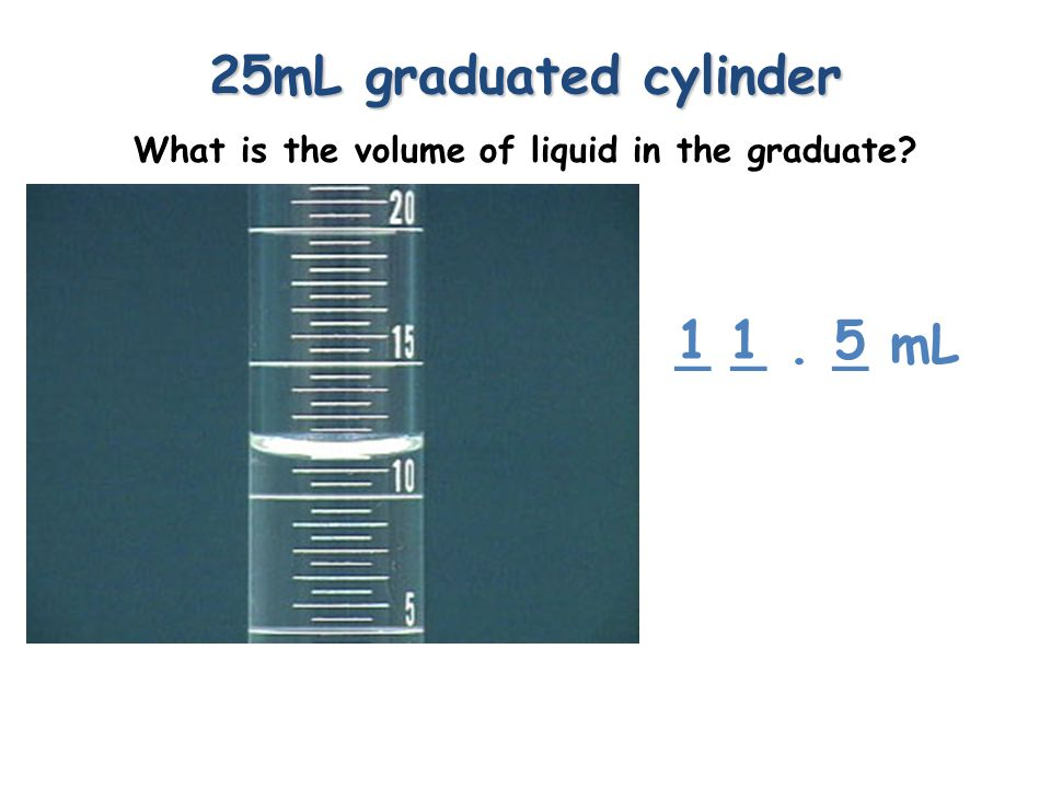 100mL graduated cylinder What is the volume of liquid in the graduate? _ _. _ mL 527