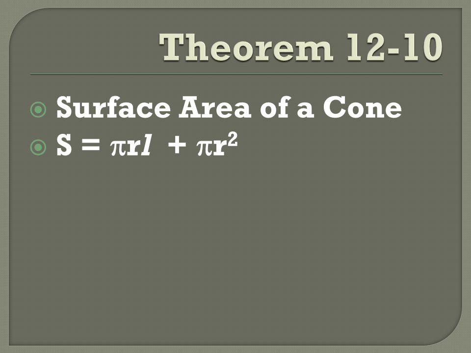  Surface Area of a Cone  S =  rl +  r 2