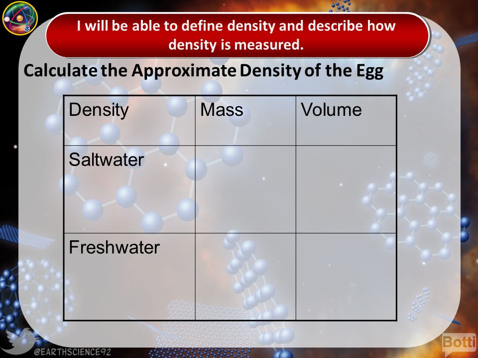 Calculate the Approximate Density of the Egg DensityMassVolume Saltwater Freshwater
