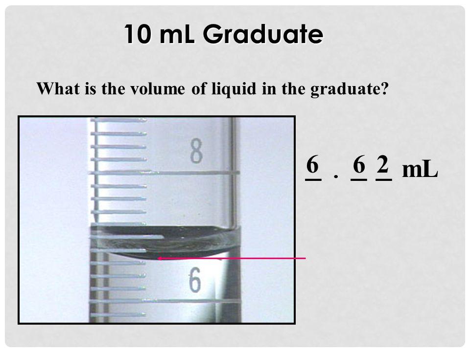 10 mL Graduate What is the volume of liquid in the graduate