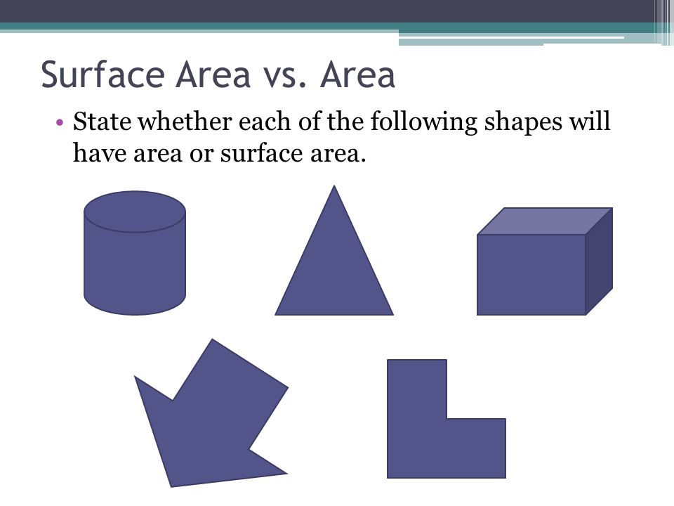 Surface Area vs. Area State whether each of the following shapes will have area or surface area.