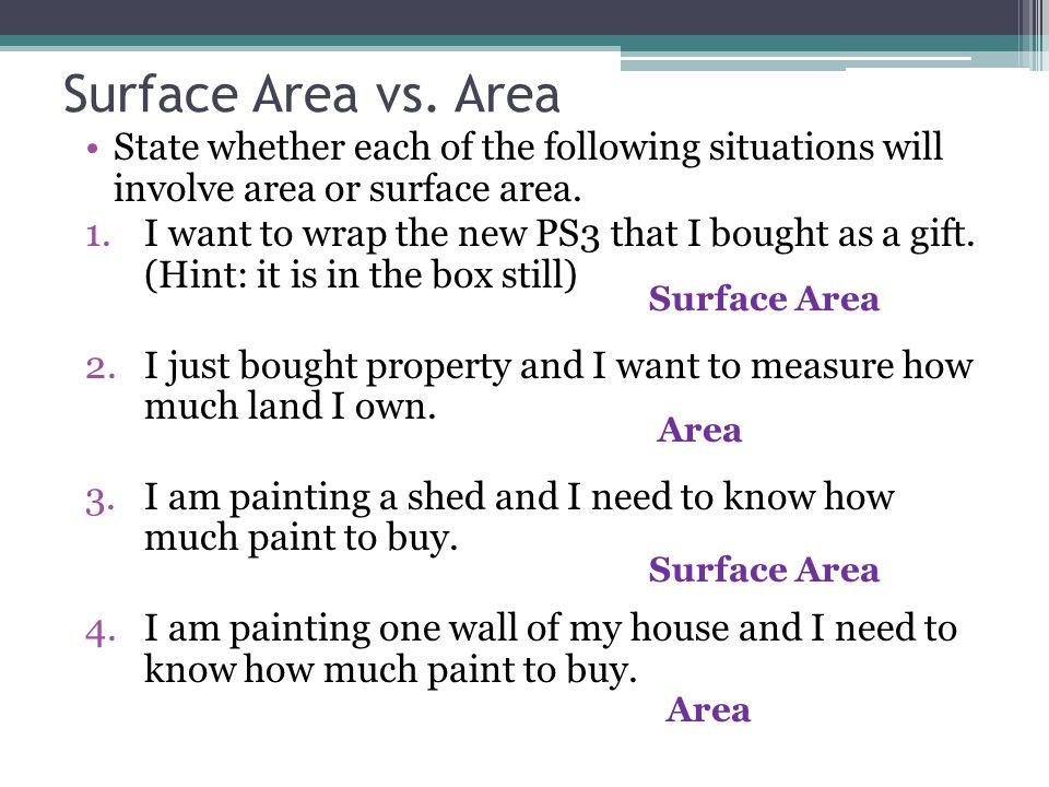 Surface Area vs.