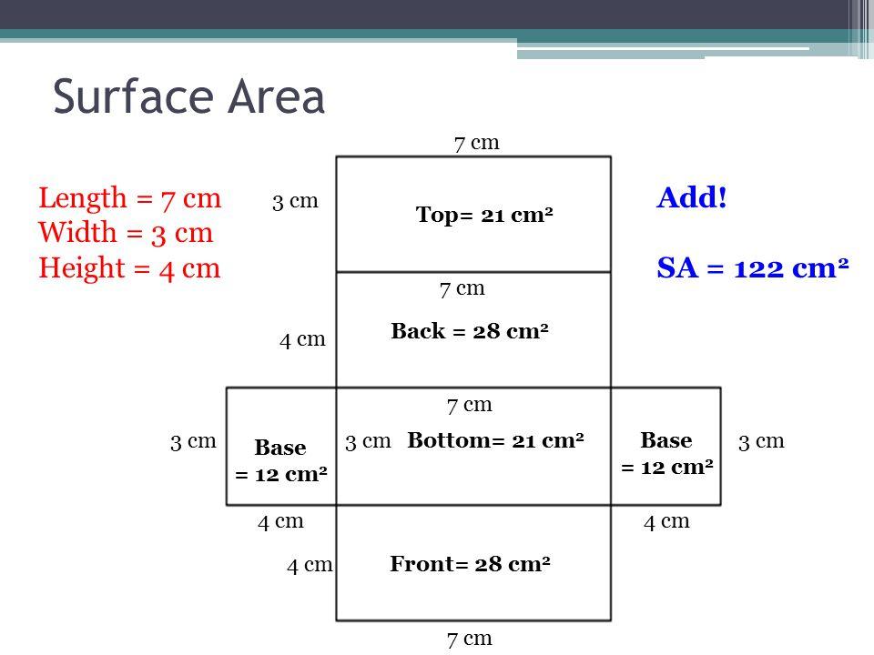 Surface Area 4 cm 7 cm Base = 12 cm 2 Front= 28 cm 2 Bottom= 21 cm 2 Back = 28 cm 2 Top= 21 cm 2 3 cm 4 cm 3 cm 4 cm 7 cm Length = 7 cm Width = 3 cm Height = 4 cm Add.