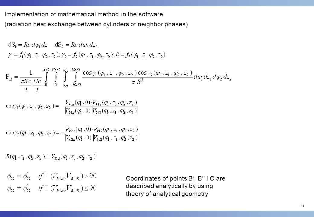 11 Implementation of mathematical method in the software (radiation heat exchange between cylinders of neighbor phases) Coordinates of points B', B'' i C are described analytically by using theory of analytical geometry