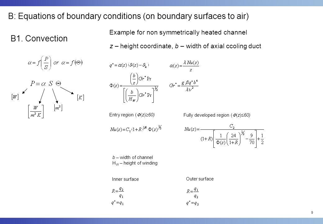 9 B: Equations of boundary conditions (on boundary surfaces to air) B1.