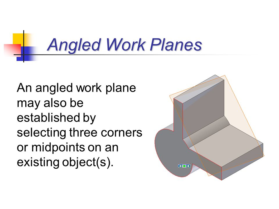 Angled Work Planes An angled work plane may also be established by selecting three corners or midpoints on an existing object(s).