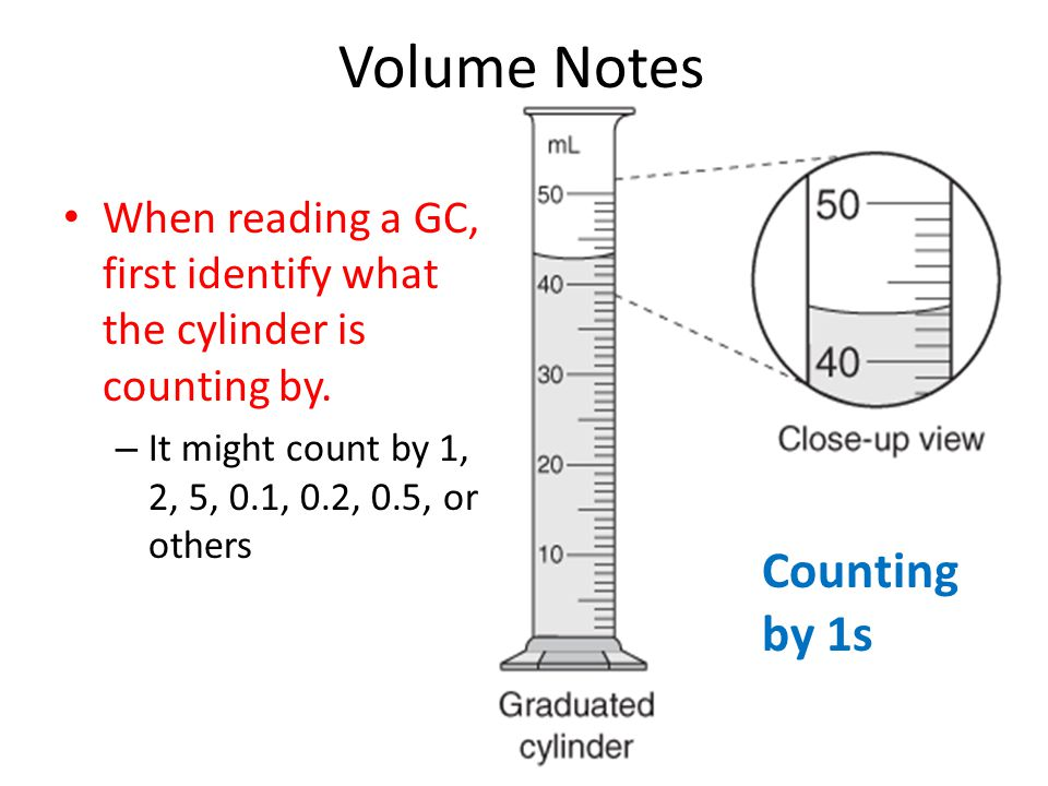 Volume Notes When reading a GC, first identify what the cylinder is counting by.