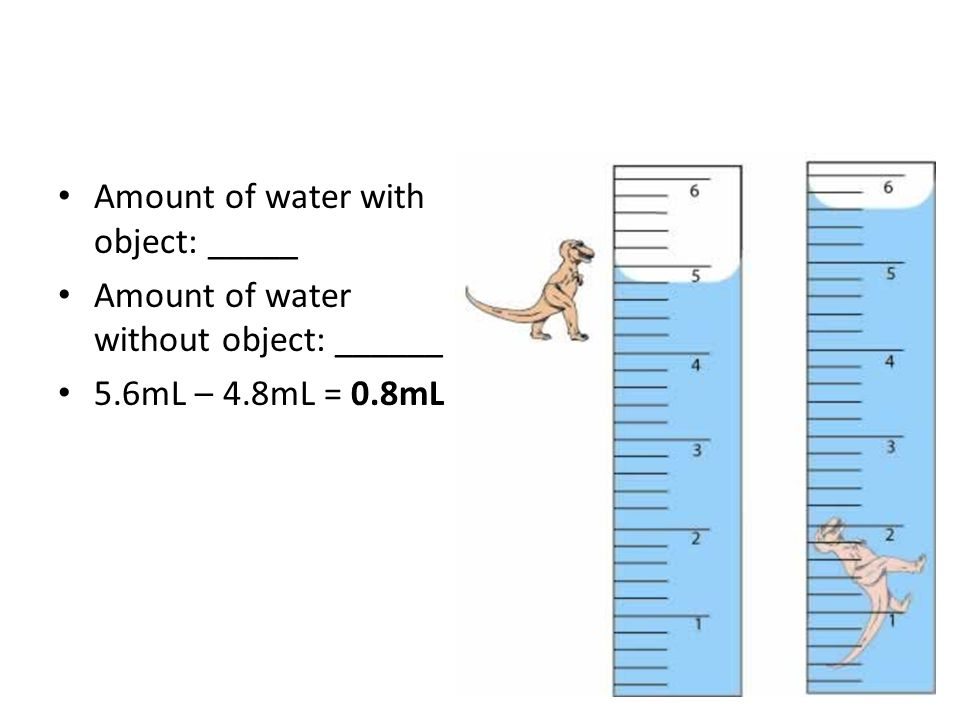 Amount of water with object: _____ Amount of water without object: ______ 5.6mL – 4.8mL = 0.8mL