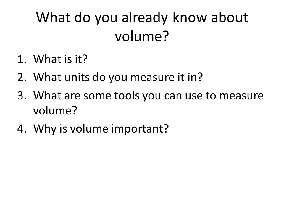 What do you already know about volume.1.What is it.