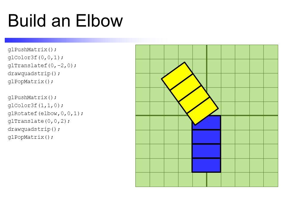 Build an Elbow glPushMatrix(); glColor3f(0,0,1); glTranslatef(0,-2,0); drawquadstrip(); glPopMatrix(); glPushMatrix(); glColor3f(1,1,0); glRotatef(elbow,0,0,1); glTranslate(0,0,2); drawquadstrip(); glPopMatrix();
