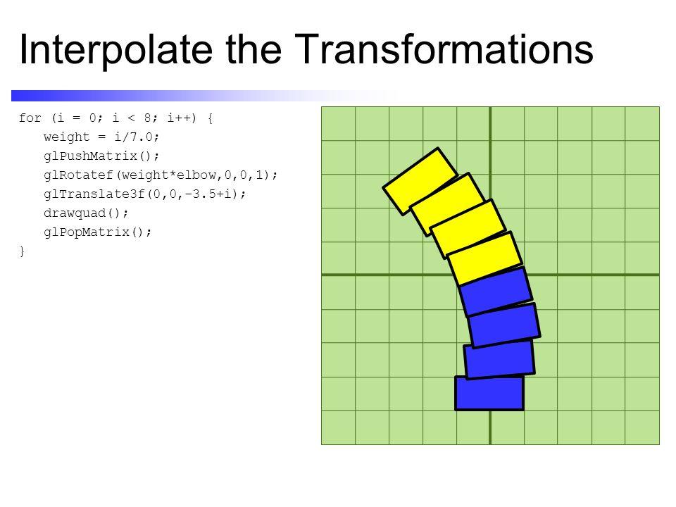 Interpolate the Transformations for (i = 0; i < 8; i++) { weight = i/7.0; glPushMatrix(); glRotatef(weight*elbow,0,0,1); glTranslate3f(0,0,-3.5+i); drawquad(); glPopMatrix(); }