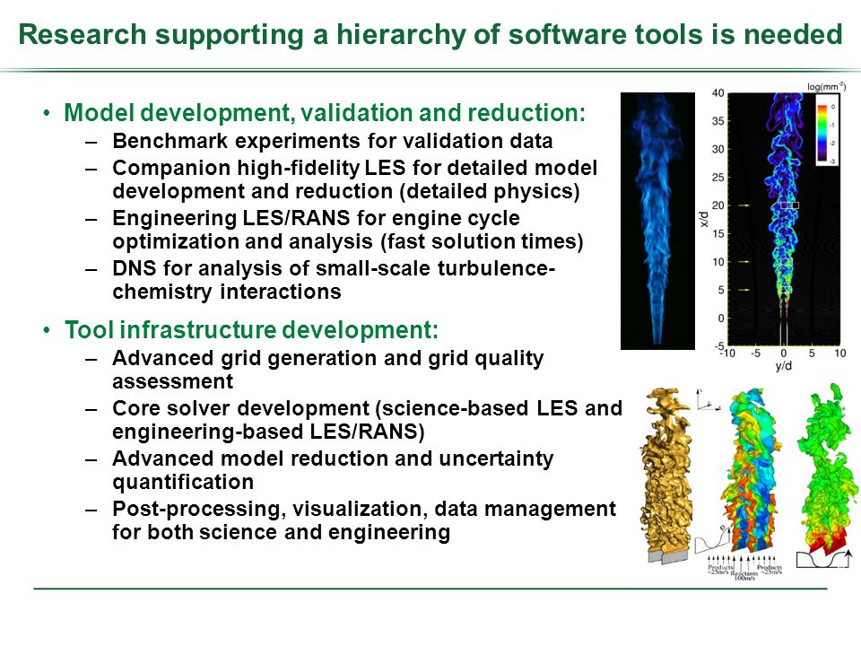 Model development, validation and reduction: –Benchmark experiments for validation data –Companion high-fidelity LES for detailed model development and reduction (detailed physics) –Engineering LES/RANS for engine cycle optimization and analysis (fast solution times) –DNS for analysis of small-scale turbulence- chemistry interactions Tool infrastructure development: –Advanced grid generation and grid quality assessment –Core solver development (science-based LES and engineering-based LES/RANS) –Advanced model reduction and uncertainty quantification –Post-processing, visualization, data management for both science and engineering Research supporting a hierarchy of software tools is needed