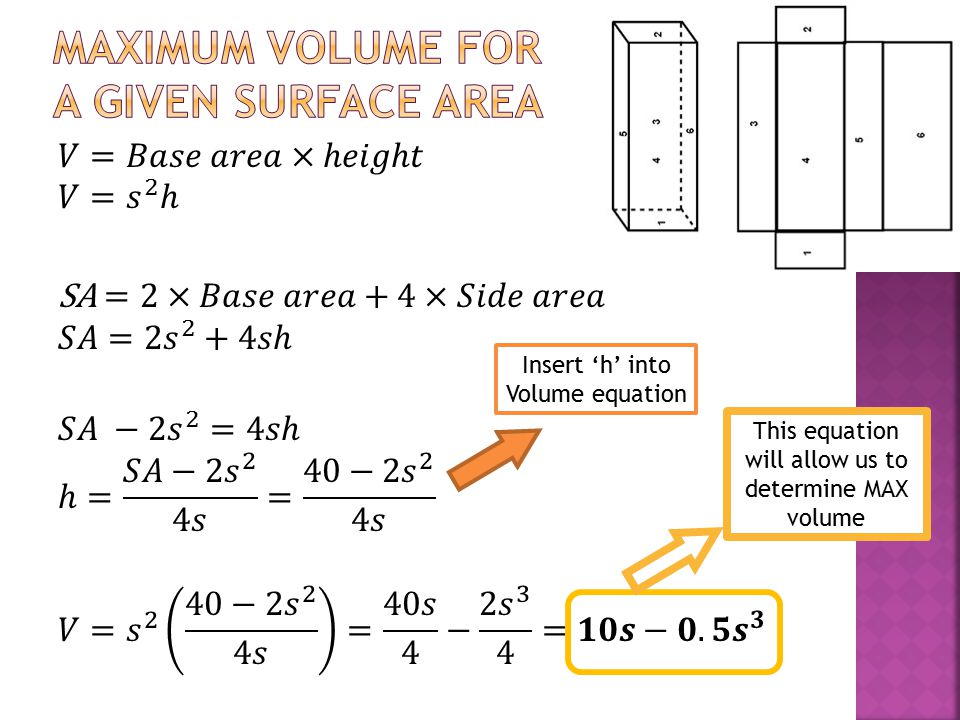 Insert 'h' into Volume equation This equation will allow us to determine MAX volume