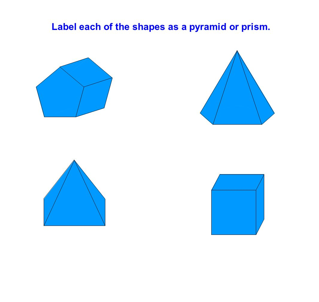 Label each of the shapes as a pyramid or prism.