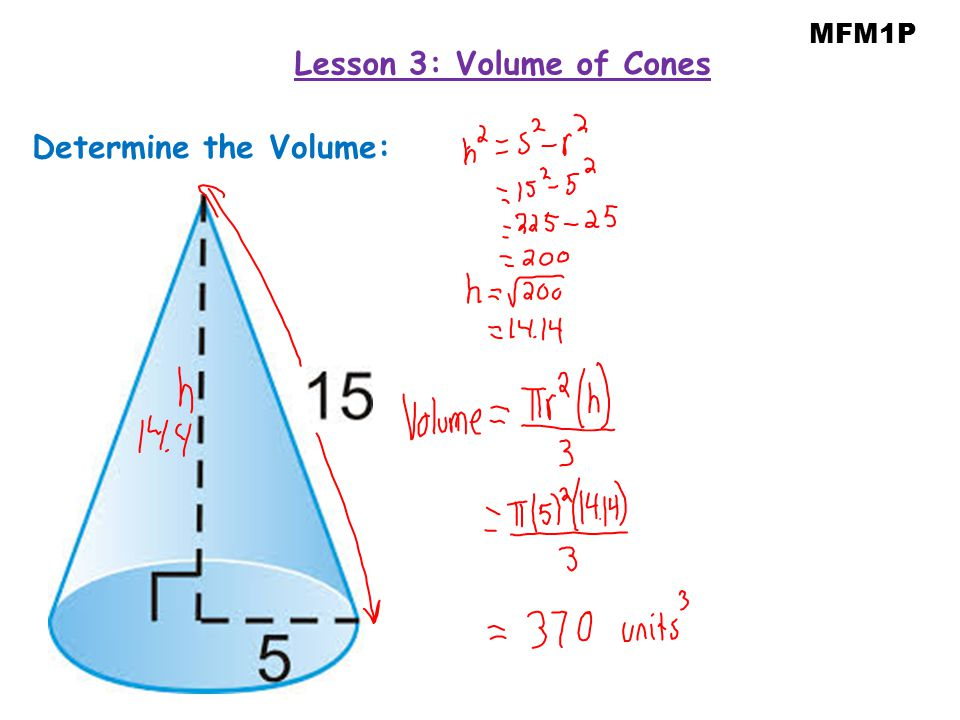 Determine the Volume: MFM1P Lesson 3: Volume of Cones