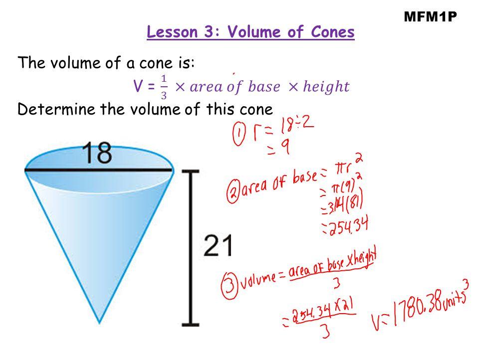 MFM1P Lesson 3: Volume of Cones