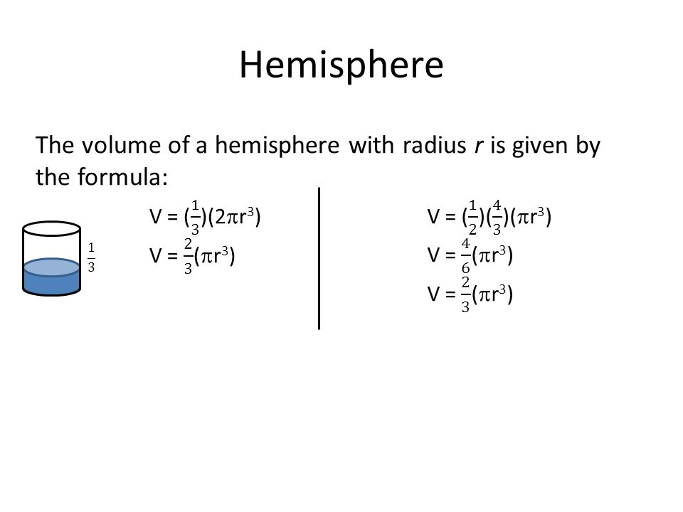 Hemisphere The volume of a hemisphere with radius r is given by the formula: