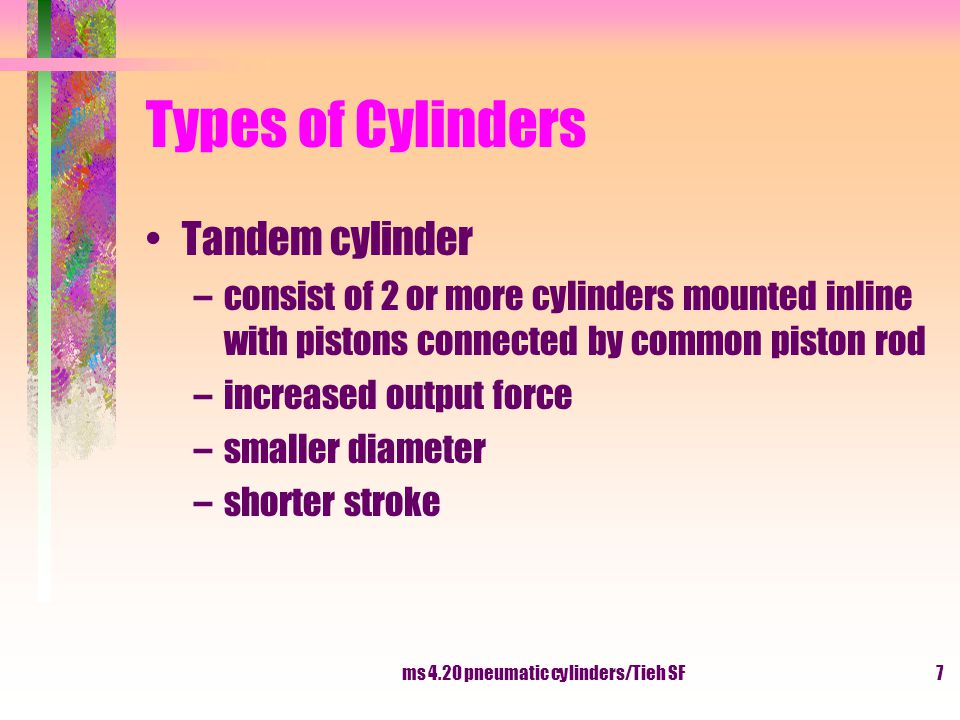 ms 4.20 pneumatic cylinders/Tieh SF8 Types of Cylinders Multi-position cylinder –consist of two or more cylinder connected together –two cylinder having a different stroke length –two cylinder placed back to back will enable of four different positions Stroke 100 mmStroke 200 mm 0100200300