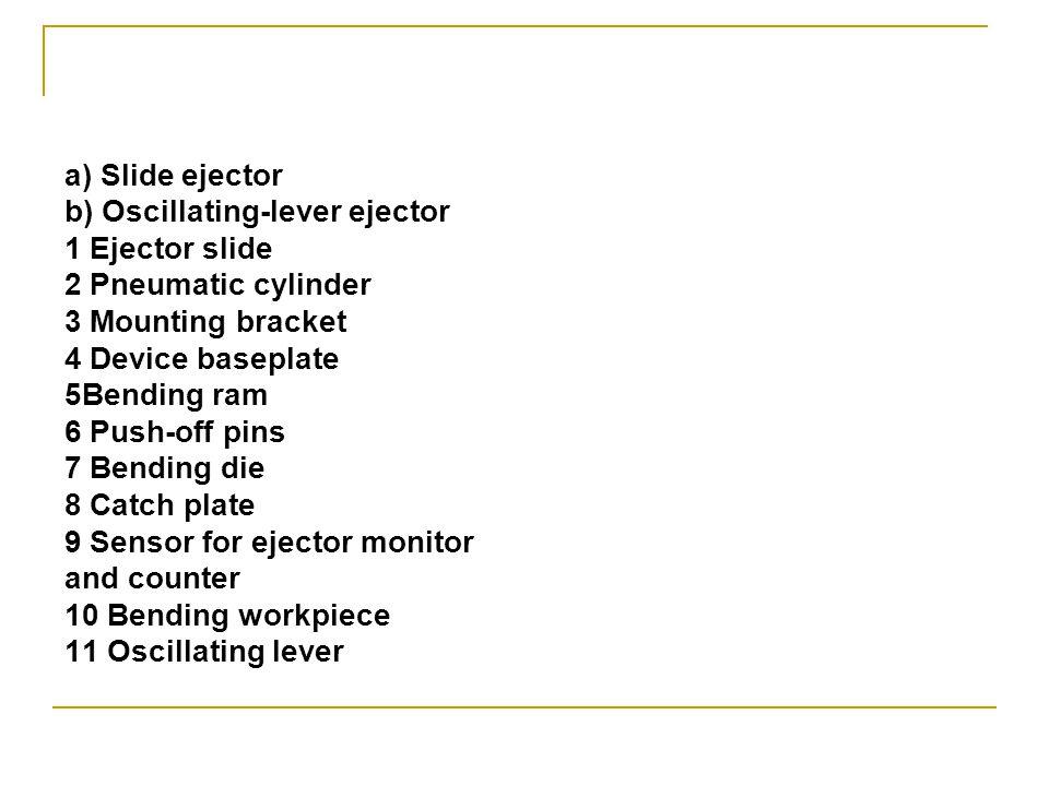 a) Slide ejector b) Oscillating-lever ejector 1 Ejector slide 2 Pneumatic cylinder 3 Mounting bracket 4 Device baseplate 5Bending ram 6 Push-off pins 7 Bending die 8 Catch plate 9 Sensor for ejector monitor and counter 10 Bending workpiece 11 Oscillating lever