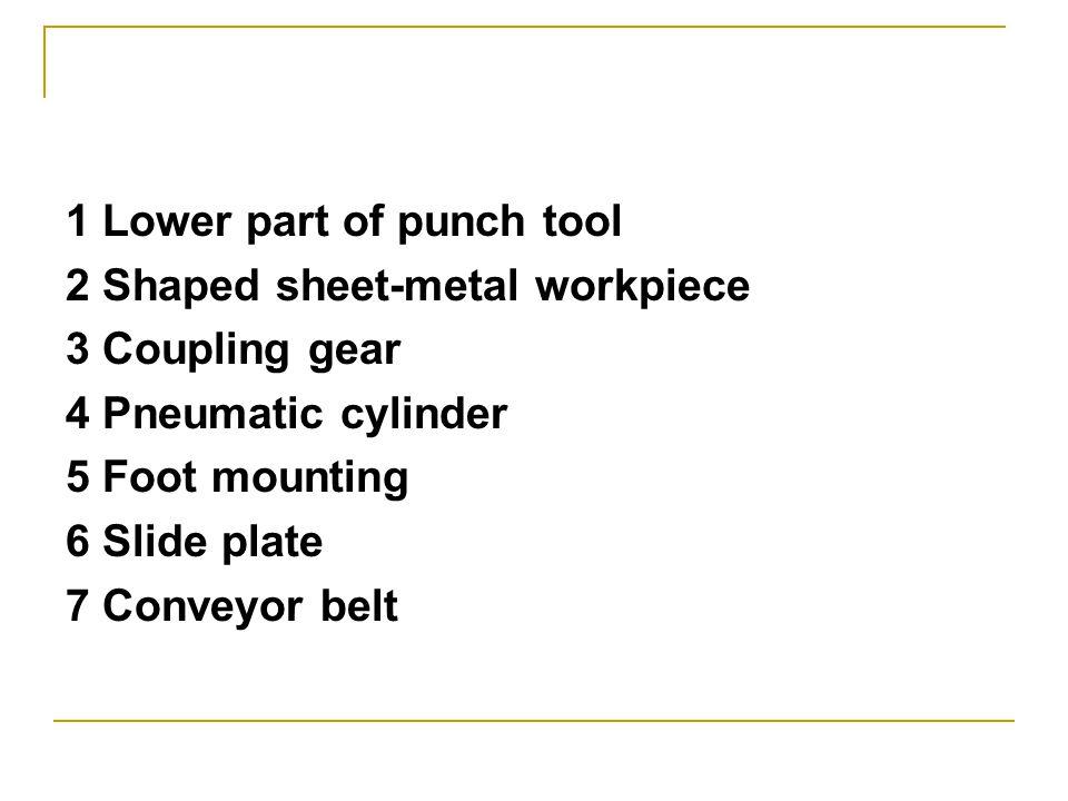 1 Lower part of punch tool 2 Shaped sheet-metal workpiece 3 Coupling gear 4 Pneumatic cylinder 5 Foot mounting 6 Slide plate 7 Conveyor belt