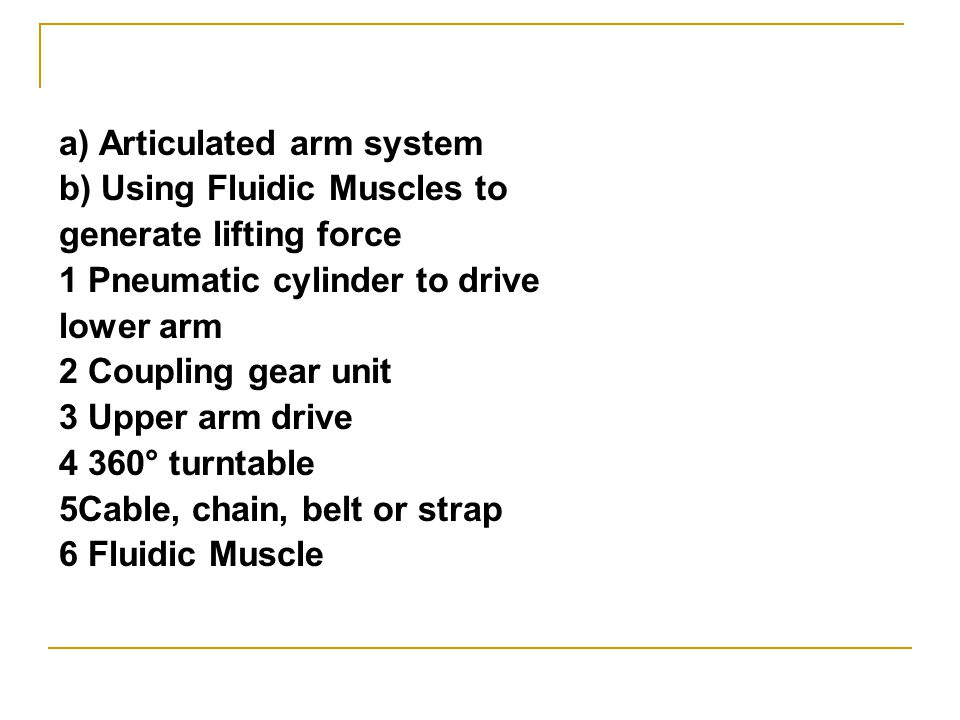 a) Articulated arm system b) Using Fluidic Muscles to generate lifting force 1 Pneumatic cylinder to drive lower arm 2 Coupling gear unit 3 Upper arm drive 4 360° turntable 5Cable, chain, belt or strap 6 Fluidic Muscle
