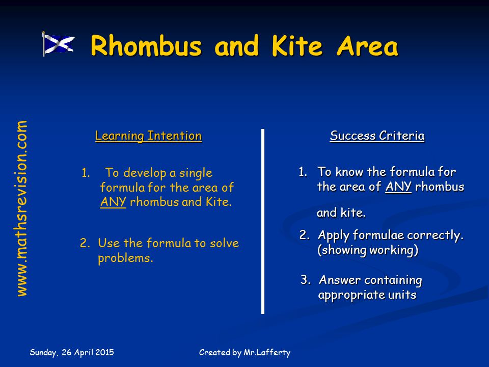 Sunday, 26 April 2015 Created by Mr.Lafferty Learning Intention Success Criteria 1.To know the formula for the area of ANY rhombus and kite.