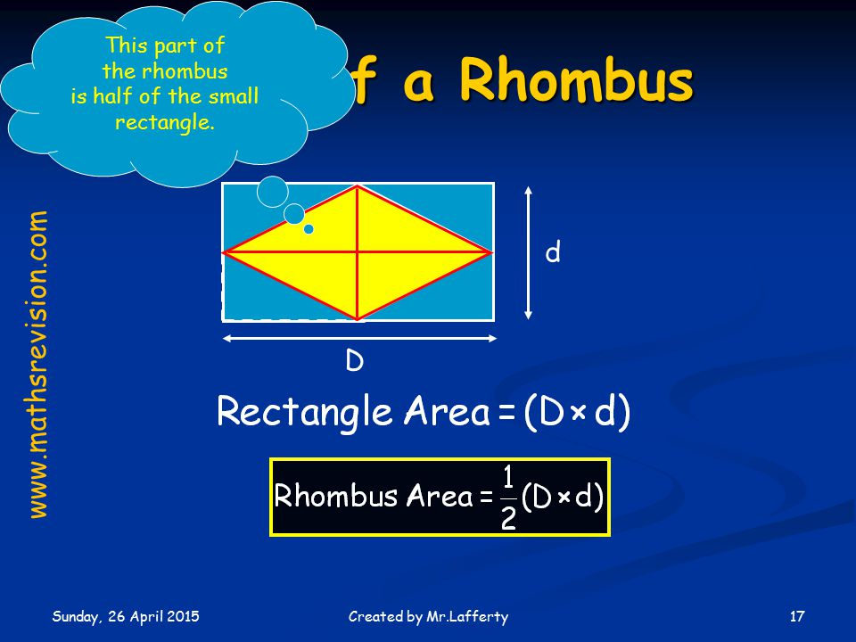 Sunday, 26 April 2015 17Created by Mr.Lafferty Area of a Rhombus D d www.mathsrevision.com This part of the rhombus is half of the small rectangle.