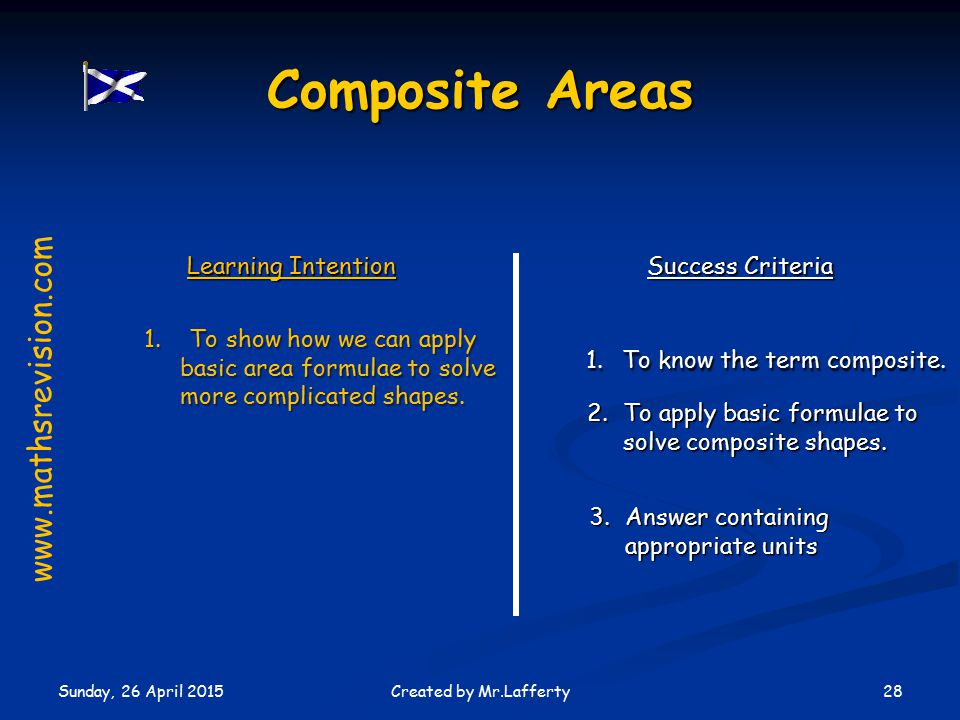 Sunday, 26 April 2015 28Created by Mr.Lafferty Learning Intention Success Criteria 1.To know the term composite.