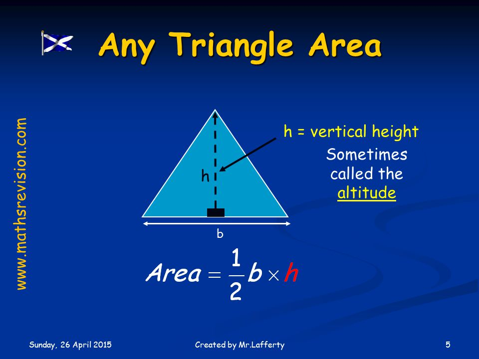 Sunday, 26 April 2015 5Created by Mr.Lafferty Any Triangle Area h b Sometimes called the altitude h = vertical height www.mathsrevision.com