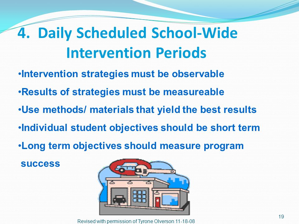 3. Develop Grade Level Intervention Period Common intervention time for each grade level Collaborative intervention strategies Student groups are flex