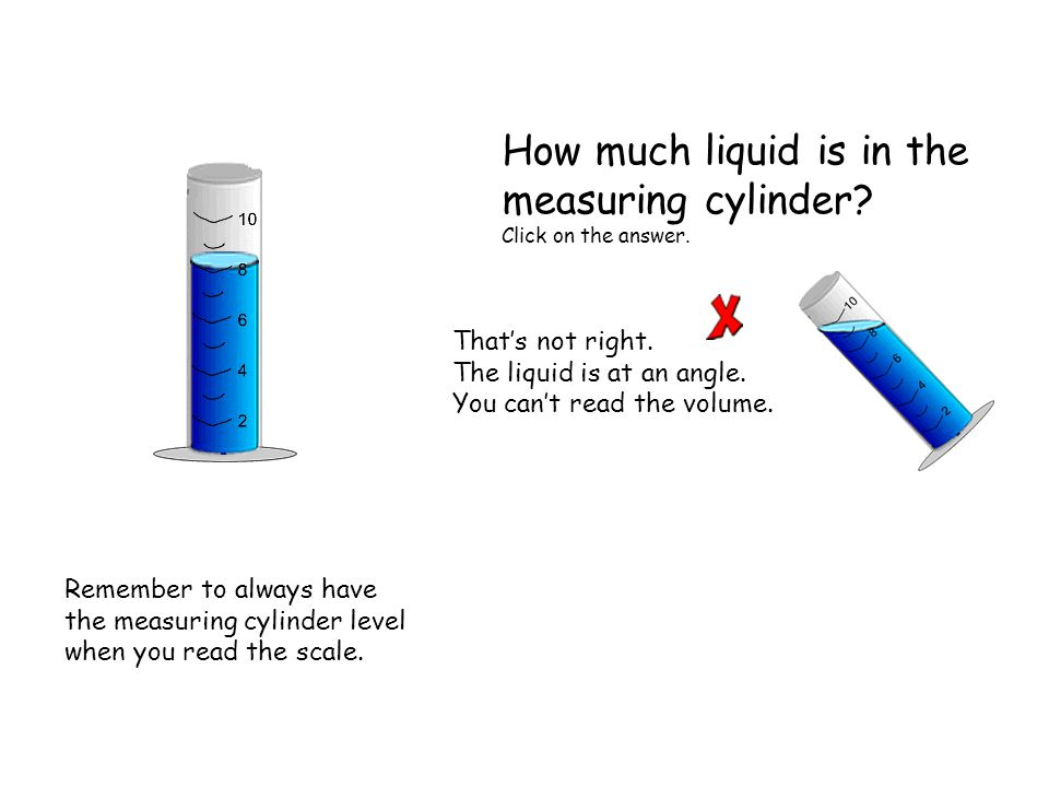 That's not right. The liquid is at an angle. You can't read the volume.