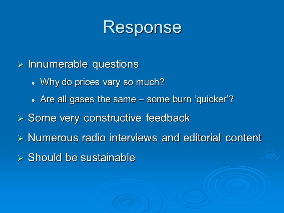 Response  Innumerable questions Why do prices vary so much.