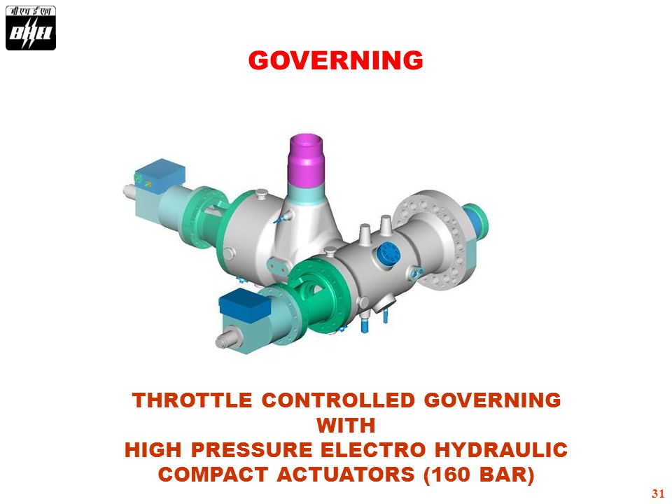31 THROTTLE CONTROLLED GOVERNING WITH HIGH PRESSURE ELECTRO HYDRAULIC COMPACT ACTUATORS (160 BAR) GOVERNING